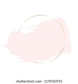 Golden circle frame, rose brush stroke on a white background.