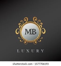 Golden Circle Luxury Letter M and B, MB  logo. Elegant circle luxury logo with golden color design concept for initial, emblem, luxuries business, wedding service and more brand identity.