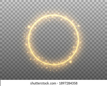 Golden circle on transparent backdrop. Glowing ring effect with glitter. Round gold frame and magic stardust. Festive element with glittering elements. Vector illustration.