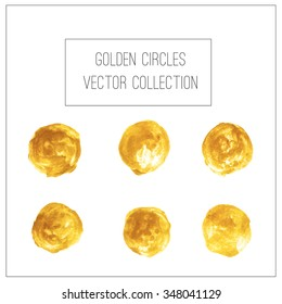Golden circle stain background. Vector painted golden background for your design