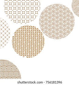 Golden circles with different geometric patterns on white with clipping mask. Gold abstract shapes. Asian style ornaments. Graphic design for cover,poster, card, template