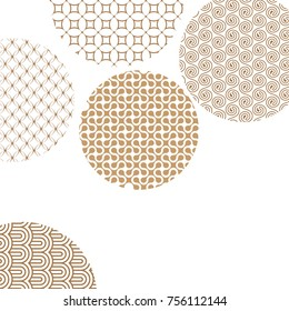 Golden circles with geometric patterns on white with clipping mask. Gold abstract shapes. Asian style ornaments. Graphic design for cover,poster, card, template