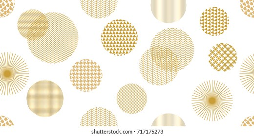 Golden circles. Wide panoramic seamless pattern with abstract geometric shapes. Different ornaments on white background. Composition for textile design, web design, cards.