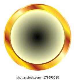 Golden circular button on white.