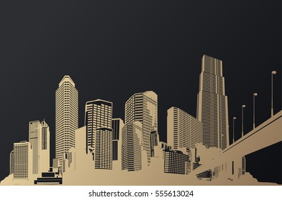 Golden cityscape with skyscrapers and bridge.