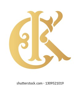 Golden CK monogram isolated in white.