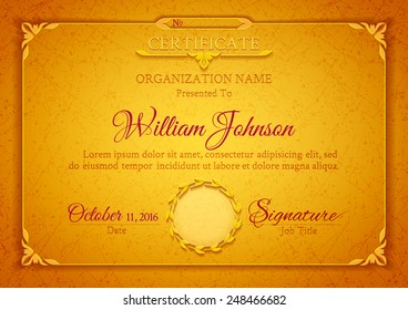 Golden classic certificate with a marble texture, vintage decorative elements and frame with space for stamp seal and congratulatory text