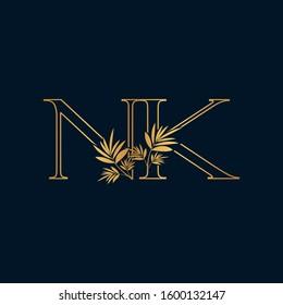 Golden Classic Vintage Nature Initial Letter N, K, NK logo icon vector design concept.