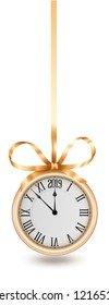 Golden clock, hanging on golden ribbon with bow, design element for New years invitation and greeting cards. EPS 10 contains transparency.