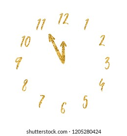 Golden clock vector design. Glitter numbers and arrows isolated on white background. New Year midnight on watch vector illustration