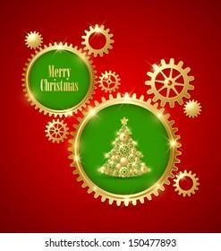Golden clockwork Christmas tree made of cogwheels with golden cogwheel gear decoration