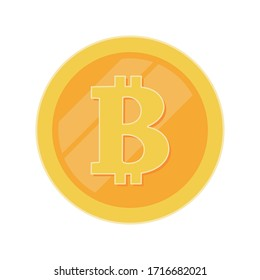 Golden coin with bitcoin sign. Money and finance symbol Cryptocurrency. Vector Illustration isolated on white background. Gold coin with Bitcoin symbol cryptocurrency.