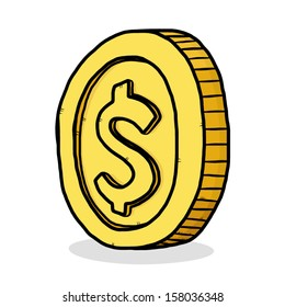 golden coin / cartoon vector and illustration, isolated on white background.