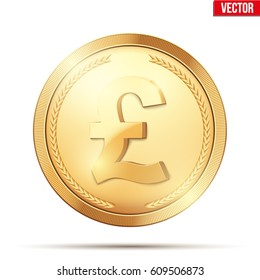 Golden coin with pound sign. Money and finance symbol. Vector Illustration isolated on white background.