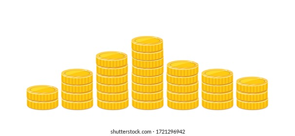 Golden coin pyramid, stacked realistic money illustration