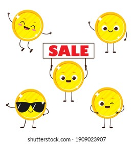 Golden coin with smile on face holding sale sign. Cute cartoon money character set. Financial savings vector illustration