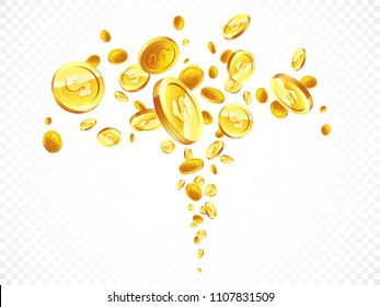 Golden coins in different positions illustration, isolated background.