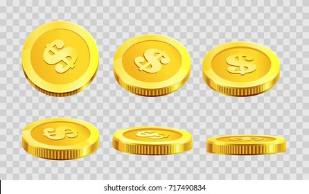 Golden coins dollar cent in different angle icons on vector transparent background