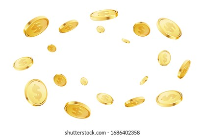 Golden coins explosion. Casino jackpot or win concept. Gold coins on white background. Applicable for gaming, gambling fortune, jackpot illustration. Vector illustration