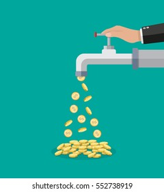 Golden coins fall out of the metal tap. Vector illustration in flat style on green background