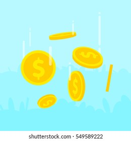 Golden coins falling down from the sky. Cartoon flat design style finance vector illustration.