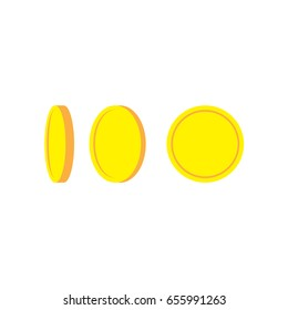 Golden coins isolated different positions. Flat design.