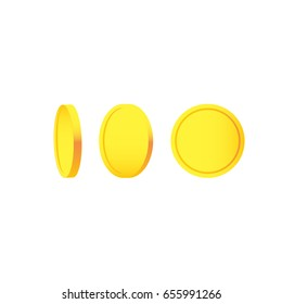 Golden coins isolated different positions