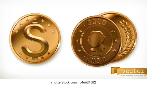 Golden coins. Money, 3d vector icons