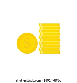 Golden coins set. Flat gold icon. Economy, finance, money concept. Wealth symbol vector illustration isolated on white