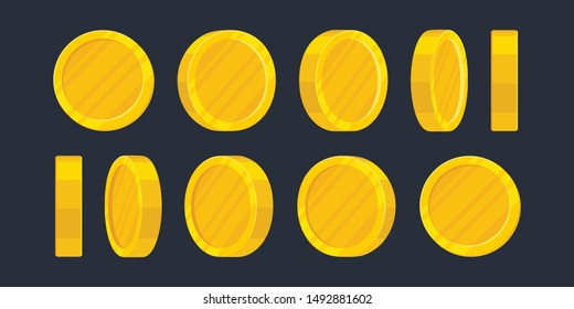 Golden Coins Sprite Sheet in Different Positions. Balance, Profit, income statement and cash. Cartoon EPS 10 vector illustration.