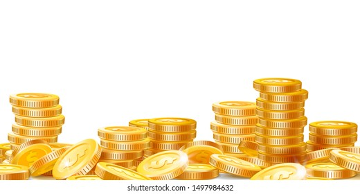 Golden coins stacks. Lots money, finance business profits and wealth gold coin pile. Dollar stack, casino coin cash or banking currency investment heap isolated vector illustration