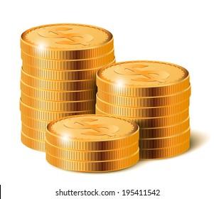 Golden Coins Stacks, Vector Illustration.