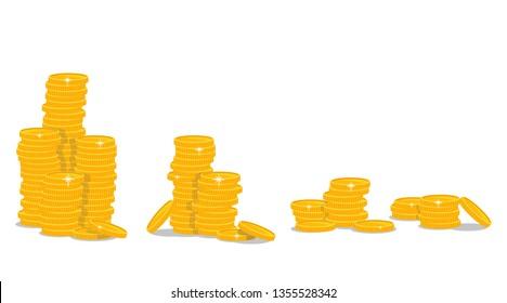 Golden coins vector design illustration isolated on white background