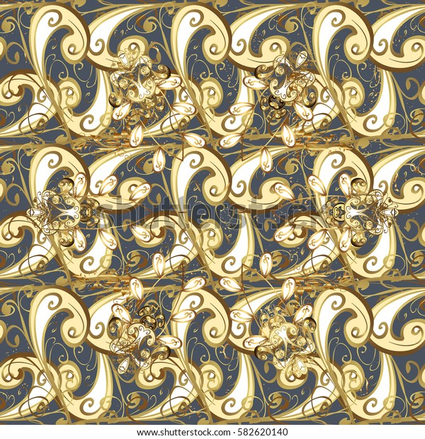 Golden color illustration. Golden pattern on gray background with golden elements. For your design, wallpaper. Vector geometric background.