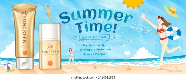Golden color sunscreen ads on beautiful beach with people wearing bikini and playing at the beach, 3d illustration
