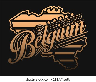 Golden colored Europe county label concept. Vector illustration design for t-shirt and printing.