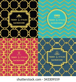 Golden and colorful trendy and stylish decoration background set with border tag