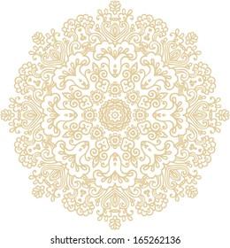 Golden coloring decorative rosette - mandala on white background
