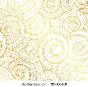 Golden complex tribal geometric pattern, vector