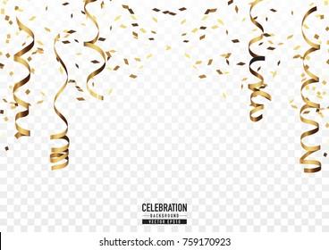 Golden confetti background in celebration concept.