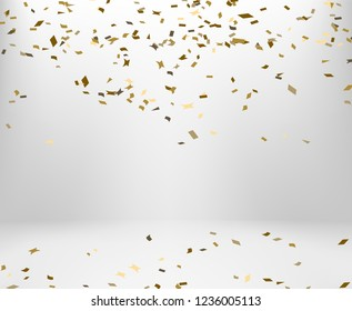 golden confetti falling on the floor with copy space. concept for celebrate in christmas and new year party on vector illustration