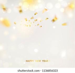 Golden confetti falls on gray background. Vector illustration.