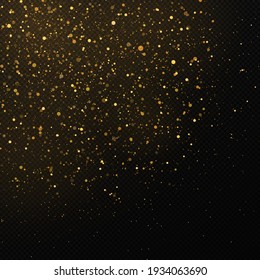 Golden confetti and glitter texture on a black background.