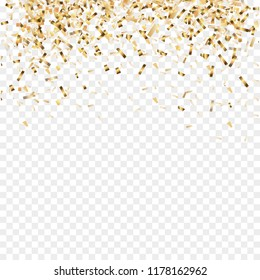 Golden confetti isolated. Festive background. Christmas golden confetti with ribbon. New year, birthday, valentines day design element. Vector illustration.