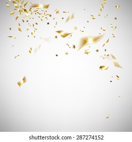 golden confetti on a light background