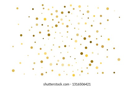 Golden confetti on white background. Luxury festive background. Gold shiny abstract texture. Element of design. Polka dots abstract vector illustration