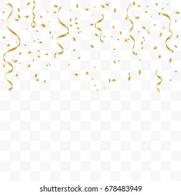 Golden Confetti And Ribbon Falling On Transparent Background. Vector Illustration