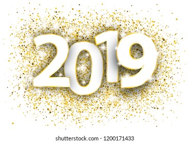 Golden confetti with text 2019. Eps 10 vector file.