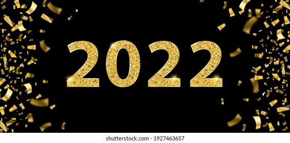 Golden confetti with the text 2022 on the black background.Eps 10 vector file.