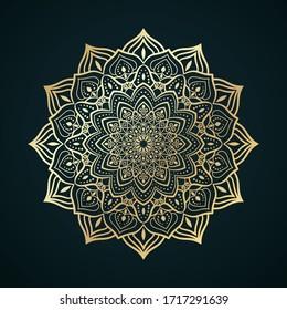 Golden contour Mandala ornament. Oriental round pattern
